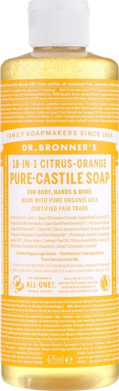 18in1 Flüssige Hand- und Körperseife mit Zitrus-Orange - Dr. Bronner's 18-in-1 Pure Castile Soap Citrus & Orange — Bild N5