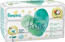 Düfte, Parfümerie und Kosmetik Feuchte Babytücher mit Kokosöl 3x42 St. - Pampers Pure Coconut