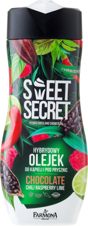 Bade- und Duschöl mit Schokolade, Chili, Himbeere und Limette - Farmona Sweet Secret Chocolate Hybrid Bath & Shower Oil
