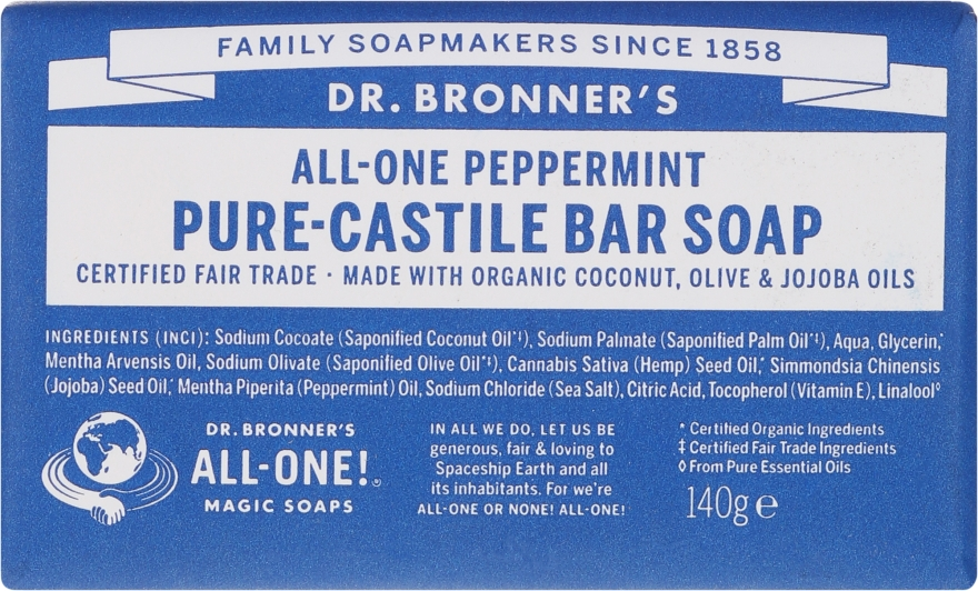 Pfefferminzseife - Dr. Bronner's Pure Castile Bar Soap Peppermint — Bild N1