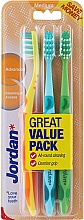 Düfte, Parfümerie und Kosmetik Zahnbürste mittel gelb, türkis, grün 3 St. - Jordan Advanced Medium Toothbrush