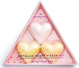 Düfte, Parfümerie und Kosmetik Badebomben-Set - I Heart Revolution Metallic Heart Fizzer Kit (Badebomben 40gx3)