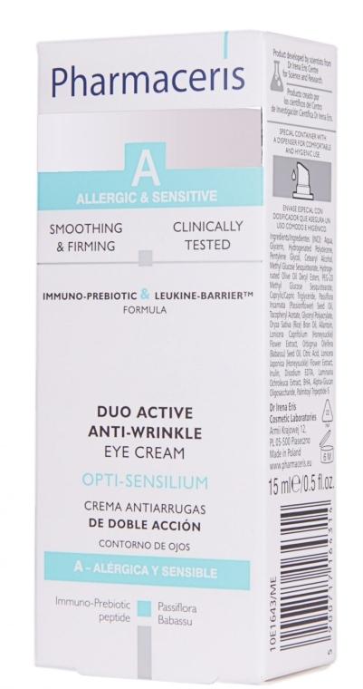 Glättende und straffende Anti-Falten Augenkonturcreme für empfindliche und allergische Haut - Pharmaceris A Opti-sensilium Duo Active Anti-Wrinkle Eye Cream — Bild N2