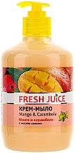 """Düfte, Parfümerie und Kosmetik Cremeseife mit Kamelienöl """"Mango & Karambole"""" mit Spender - Fresh Juice Mango & Carambol"""