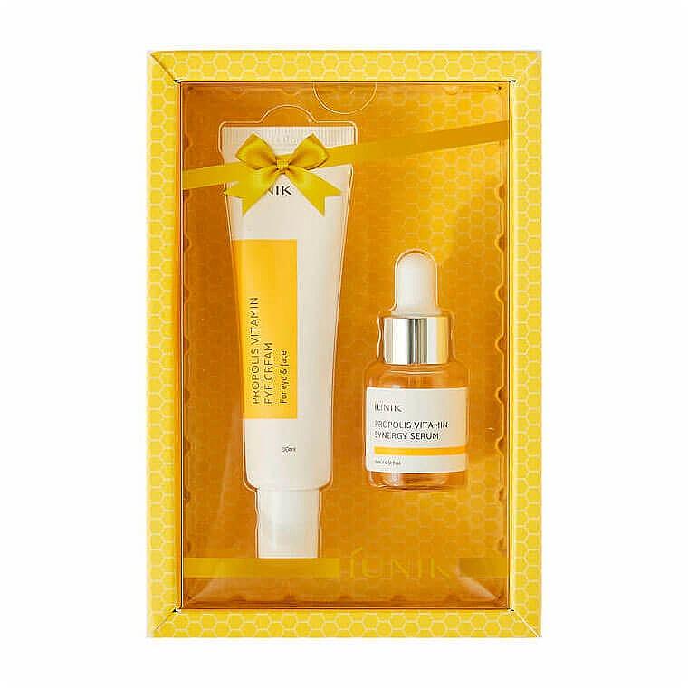 Gesichtspflegeset - iUNIK Propolis Vitamin Eye Cream Set (Augencreme 30ml + Gesichtsserum 15ml)