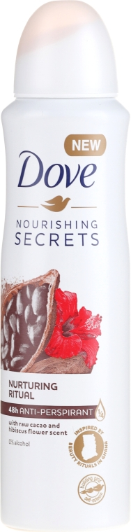 Deospray Antitranspirant - Dove Nourishing Secrets Cacao & Hibiscus Dry Spray Antiperspirant