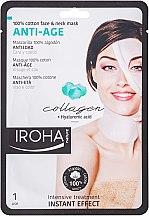 Düfte, Parfümerie und Kosmetik Anti-Aging Tuchmaske für Gesicht und Hals mit Hyaluronsäure und Kollagen - Iroha Nature Anti-Age Collagen 100% Cotton Face & Neck Mask