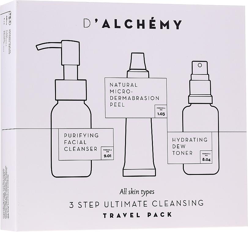 Gesichtspflegeset - D'Alchemy 3 Step Ultimate Cleansing Travel Pack (Gesichtstonikum 30ml + Mizellen-Reinigungswasser 50ml + Gesichtspeeling 15ml)