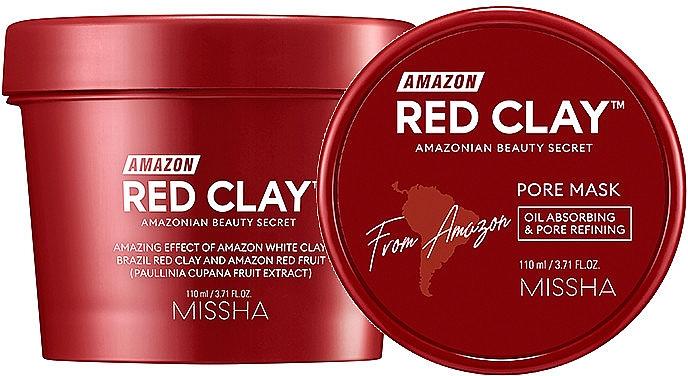 Gesichtsmaske zur Porenverfeinerung mit rotem Ton - Missha Amazon Red Clay Pore Mask