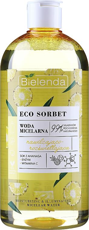 Feuchtigkeitsspendendes und aufhellendes Mizellen-Reinigungswasser mit Ananassaft - Bielenda Eco Sorbet Moisturizing&Illuminating Micellar Water