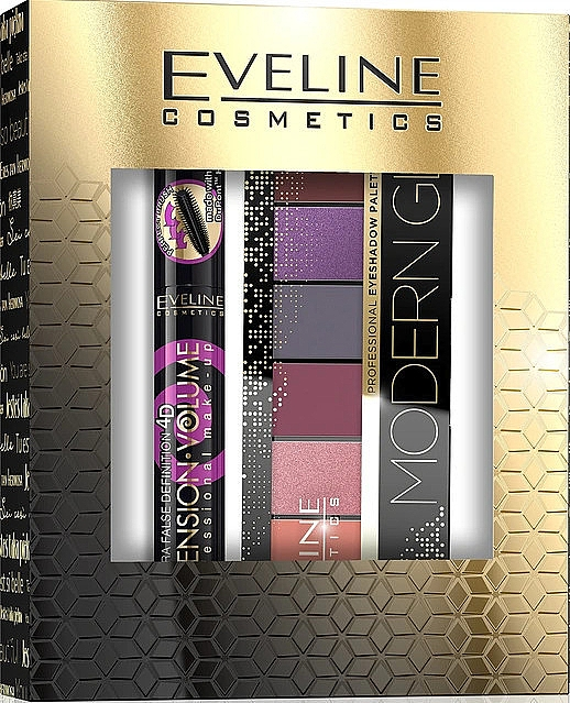 Make-up Set (Mascara 10ml + Lidschatten-Palette 9.6g) - Eveline Cosmetics