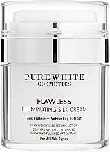 Düfte, Parfümerie und Kosmetik Gesichtscreme für einen makellos strahlenden Teint mit Seidenprotein und weißer Lilie - Pure White Cosmetics Flawless Illuminating Silk Cream
