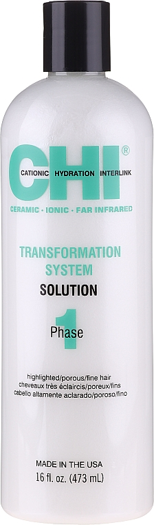Glättende Behandlung für hellergefärbtes, poröses und feines Haar Phase 1, Formel C - CHI Transformation Solution Formula C — Bild N1