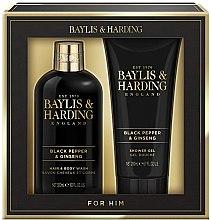 Düfte, Parfümerie und Kosmetik Badeset - Baylis & Harding Black Pepper & Ginseng (Duschgel 200ml+Haar und Körper Shampoo 300ml)