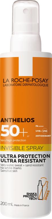 Ultra leichtes wasserfestes, schweißresistentes und sandabweisendes Sonnenschutzspray für das Gesicht und Körper SPF 50+ - La Roche-Posay Anthelios Invisible Spray