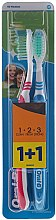 Düfte, Parfümerie und Kosmetik Zahnbürste mittel 1 2 3 Natural Fresh rot, blau 2 St. - Oral-B 1 2 3 Natural Fresh 40 Medium
