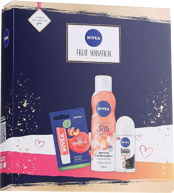 Körperpflegeset - Nivea Fruit Sensation Set (Duschmousse 200ml + Deo Roll-on 50ml + Lippenbalsam 5.5ml)