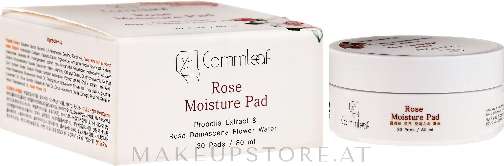 Feuchtigkeitsspendende Wattepads mit Damaszener Rosenwasser und Propolis - Commleaf Rose Moisture Pad — Bild 30 St..