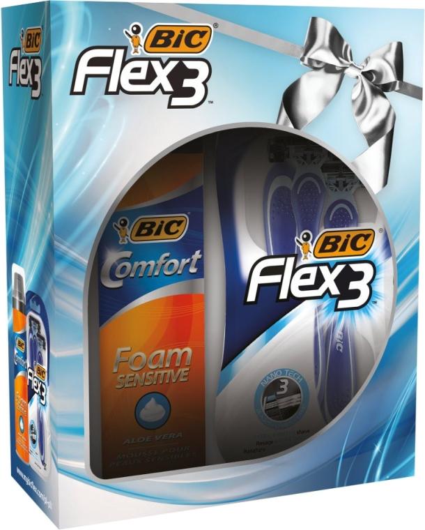 Rasierpflegeset - Bic Flex 3 Comfort (Einwegrasierer 4 St. + Rasierschaum 200ml)
