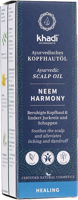 Ayurvedisches und beruhigendes Kopfhautöl gegen Juckreiz und Schuppen - Khadi Ayurvedic Scalp Oil Neem Harmony