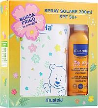 Düfte, Parfümerie und Kosmetik Sonnenschutzset für Babys - Mustela Bebe Solare (Sonnenschutzmilch-Spray SPF 50+ 200ml + Kosmetiktasche)