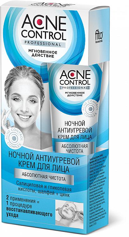 Nachtcreme für das Gesicht gegen Akne mit Salbei, Zink, Salicyl- und Glykolsäure - Fito Kosmetik Acne Control Professional