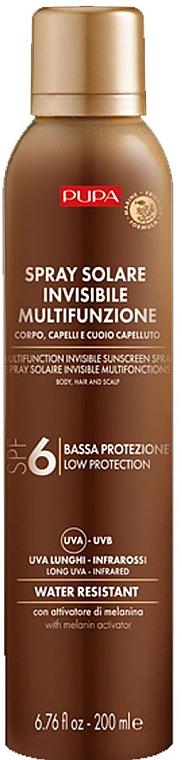 Sonnenschutzspray für Körper, Haar und Kopfhaut SPF 6 - Pupa Multifunction Invisible Sunscreen Spray — Bild N1