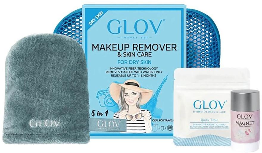 Reiseset zum Abschminken - Glov Expert Travel Set Dry Skin (Handschuh Mini 1St. + Handschuh 1St. + Gesichtsreinigungs-Stick 40g)