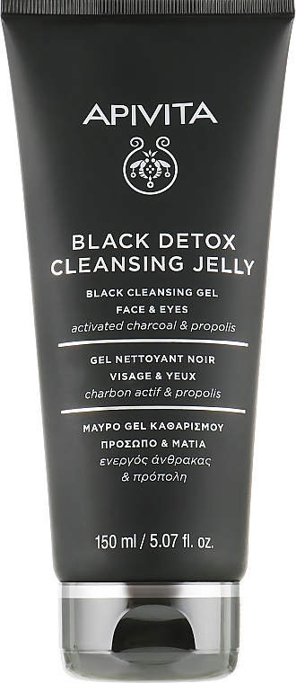 Schwarzes Detox-Reinigungsgel für Geicht und Augen mit Aktivkohle und Propolis - Apivita Black Detox Cleansing Jelly