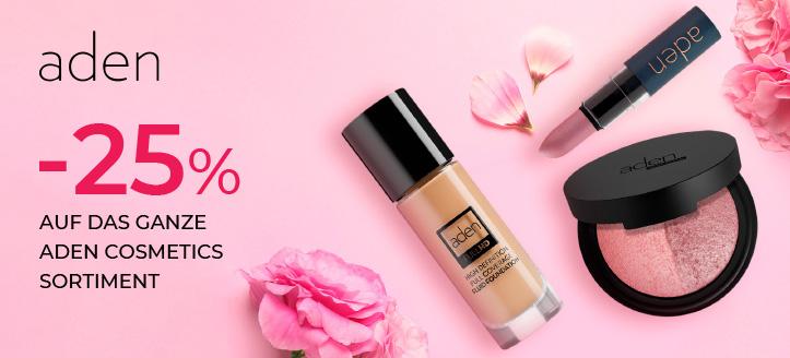 25% Rabatt auf das ganze Aden Cosmetics Sortiment. Die Preise auf der Website sind inklusive Rabatt