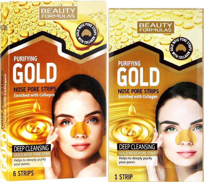 Porenverfeinernde Mitesser-Pflaster für Nase mit Kollagen - Beauty Formulas Purifying Gold Nose Pore Strips