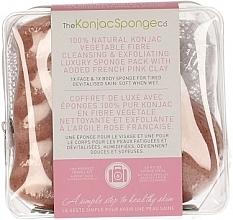Düfte, Parfümerie und Kosmetik Konjac-Schwamm - The Konjac Sponge Company Travel/Gift Sponge Bag Duo Pack French Pink Clay