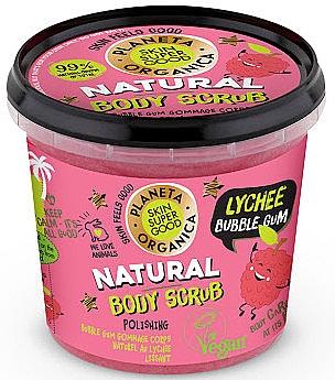 Körperpeeling mit Vanillezucker, Bio-Litschi- und Minzextrakt und Kaugummiduft - Planeta Organica Natural Body Scrub Lychee & Bubble Gum