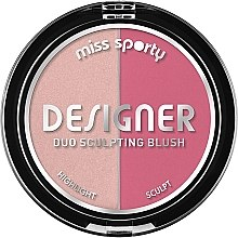 Düfte, Parfümerie und Kosmetik 2in1 Rouge und Highlighter - Miss Sporty Draping Designer Duo Sculpting Blush