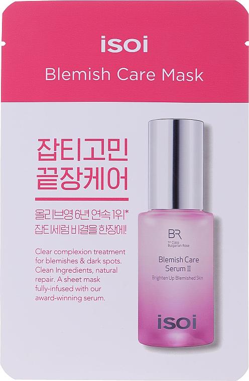 Feuchtigkeitsspendende und aufhellende Tuchmaske für das Gesicht mit bulgarischem Rosenöl gegen dunkle Flecken und Hautunreinheiten - Isoi Bulgarian Rose Blemish Care Mask