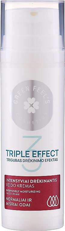 Krem intensywnie nawilżający do skóry normalnej i mieszanej z ekstraktem z ogórka i aloesu - Green Feel's Triple Effect Intensively Moisturizing Face Cream