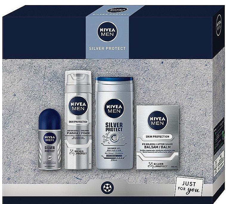 Gesichts- und Körperpflegeset - Nivea Men Silver Protect 2020 (After Shave Balsam 100ml + Rasierschaum 200ml + Duschgel 250ml + Deo Roll-on Antitranspirant 50ml)