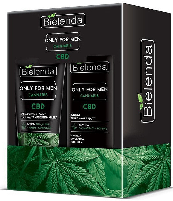 Gesichtspflegeset mit Hanf für Männer - Bielenda Only For Men Cannabis (Gesichtscreme 50ml + 3in1 Gesichtspaste 150g)