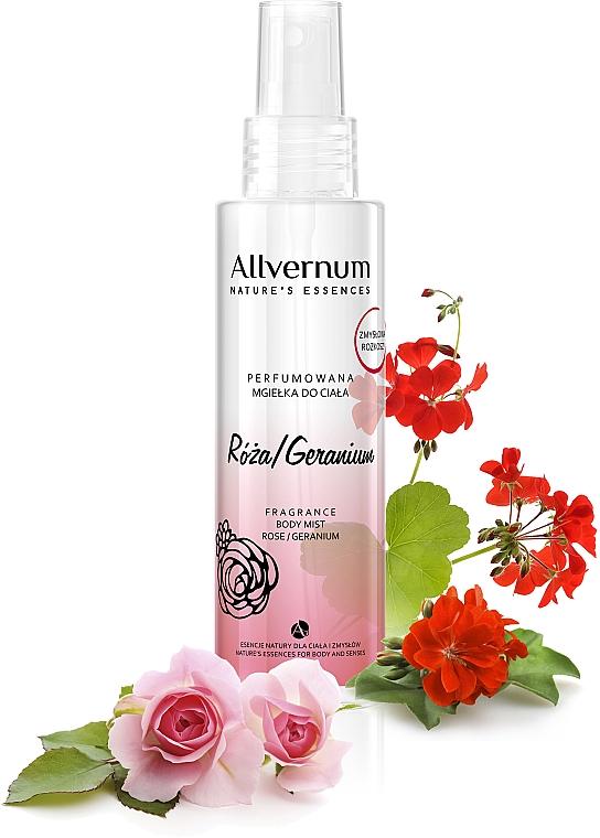 Parfümiertes Körperspray mit Rose und Geranium - Allvernum Nature's Essences Body Mist