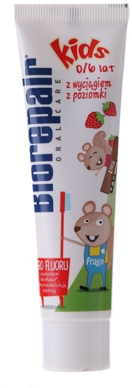 Fluoridfreie Kinderzahnpasta 0-6 Jahre mit Erdbeergeschmack - BioRepair Junior Topo Gigio Cartoon