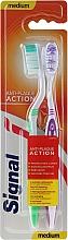 Düfte, Parfümerie und Kosmetik Zahnbürste mittel Anti-Plaque Action grün, violett 2 St. - Signal Anti-Plaque Duo