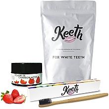 Düfte, Parfümerie und Kosmetik Zahnpflegeset - Keeth Strawberry Charcoal Kit (Zahnbürste 1St. + Zahnpuder 15g + Verpackung)