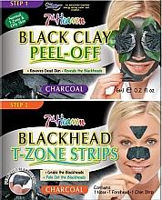 Düfte, Parfümerie und Kosmetik Peel-Off Gesichtsmaske mit schwarzer Tonerde und Streifen für die T-Zone gegen Mitesser - 7th Heaven Charcoal Duo Black Clay Peel Off