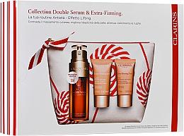 Düfte, Parfümerie und Kosmetik Gesichtspflegeset - Clarins Double Serum & Extra-Firming Set (Double-Serum 30ml + Tagescreme gegen Falten 15ml + Nachtcreme 15ml + Kosmetiktasche)