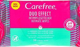 Düfte, Parfümerie und Kosmetik Intimpflegetücher mit grünem Tee und Aloe Vera 20 St. - Carefree Duo Effect