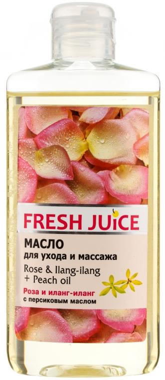 Pflege- und Massageöl für den Körper mit Rose, Ylang-Ylang und Pfirsichöl - Fresh Juice Energy Rose&Ilang-Ilang+Peach Oil