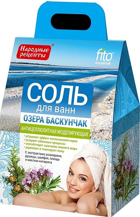 Anti-Cellulite Badesalz mit Rosmarin, Oregano, Salbei, Efeu und Zypressenöl - FitoKosmetik Anti-Cellulite Bath Salt Baskunchak Lake