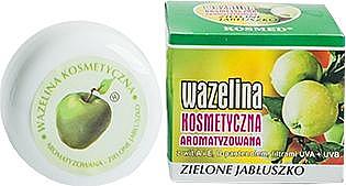 Feuchtigkeitsspendende und regenerierende Vaseline mit grünem Apfelduft für trockene und rissige Lippen mit Vitamin A und E - Kosmed Flavored Jelly Green Apple