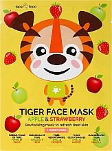 Düfte, Parfümerie und Kosmetik Revitalisierende und erfrischende Tuchmaske mit Apfel- und Erdbeerextrakt - 7th Heaven Face Food Tiger Face Mask Apple & Strawberry