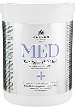Düfte, Parfümerie und Kosmetik Regenerierende Haarmaske mit Keratin, Kollagen und Hyaluronsäure für trockenes und strapaziertes Haar - Kallos Cosmetics MED Deep Repair Hair Mask